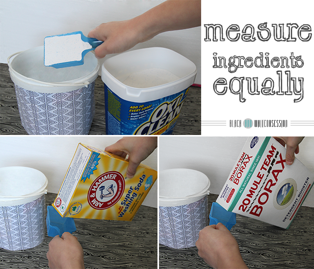 Measure equal ingredients | Simple 3 Ingredient Homemade Laundry Detergent | www.blackandwhiteobsession.com