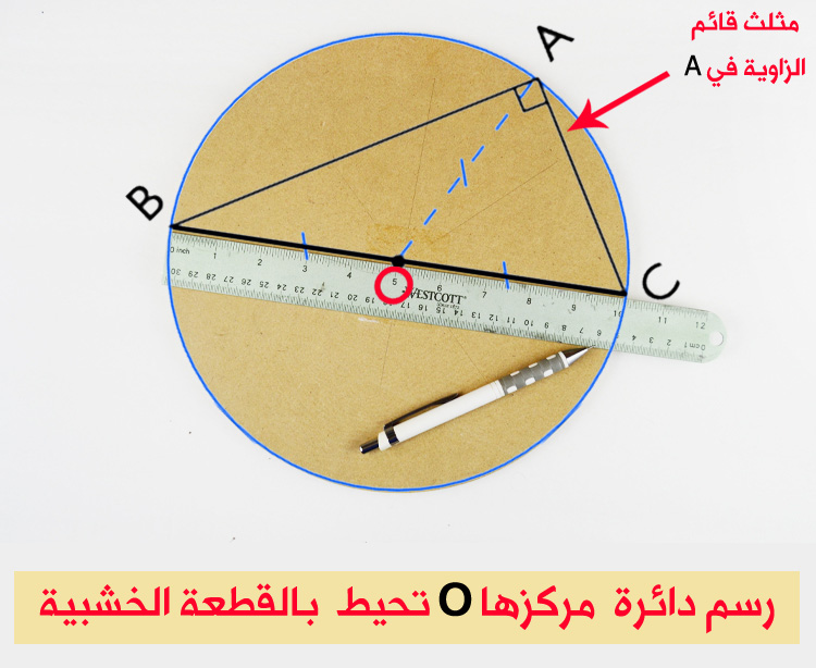 تحديد مركز القطعة اخشبية
