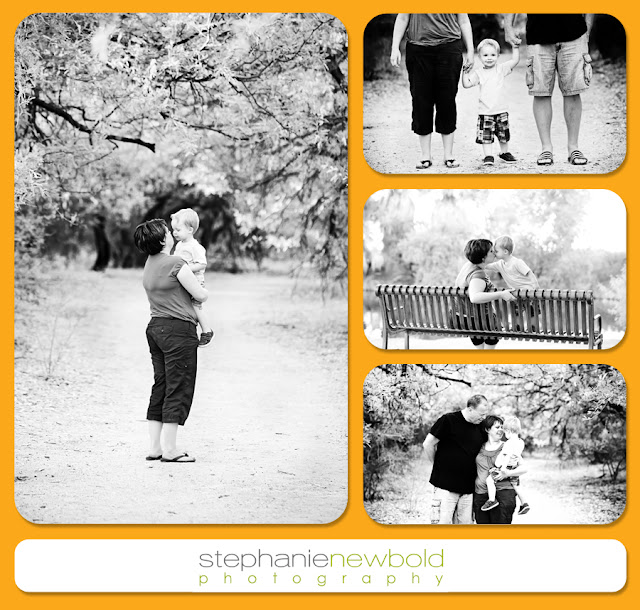 Black and white pictures of a mom and dad with their child while exploring a Tucson Park