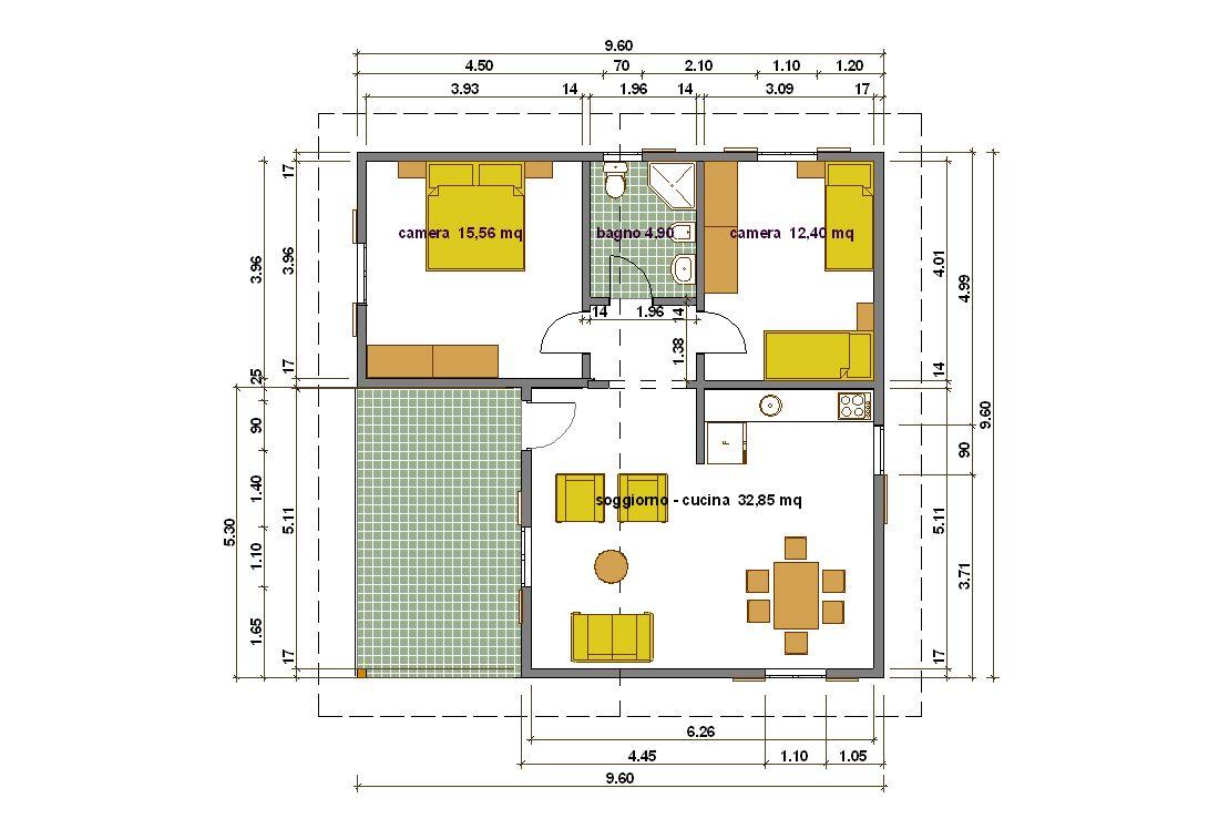 Progetti di case - Planimetria casa 60 mq ...