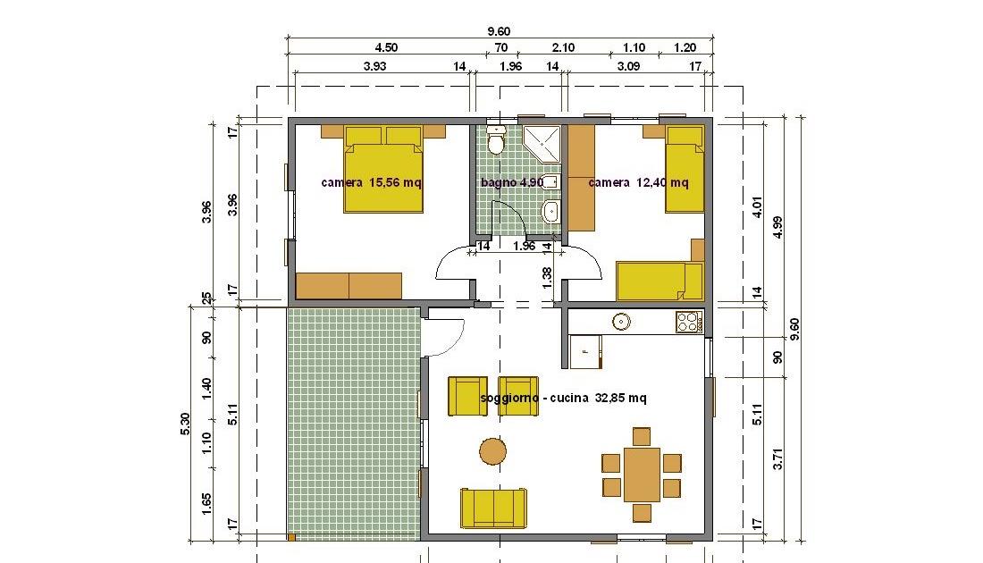 Progetti di case casa 66 mq portico 16 mq for Progetti di portico anteriore