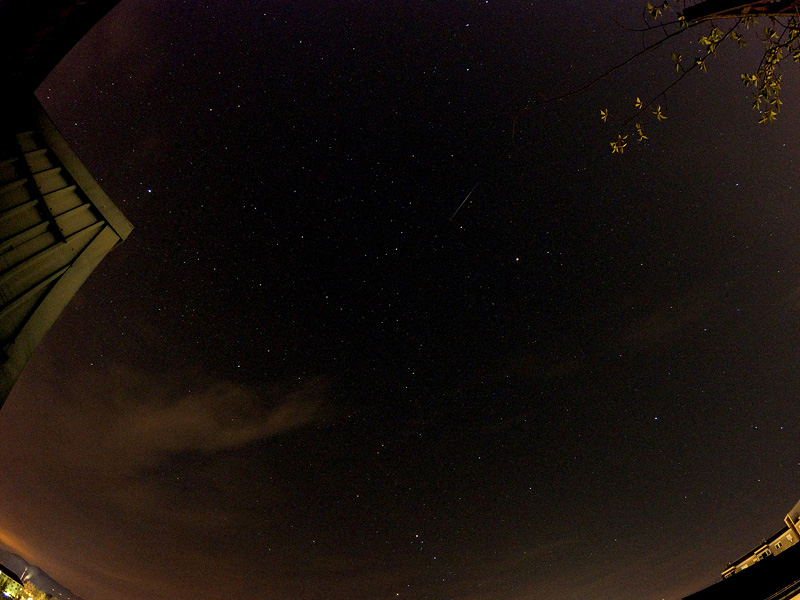 Lyrid meteor shower over Ljubljana on 22042015 seen in center