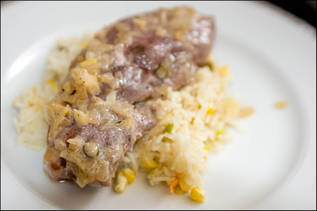 coconut and vanilla spicy pork with sweetcorn rice