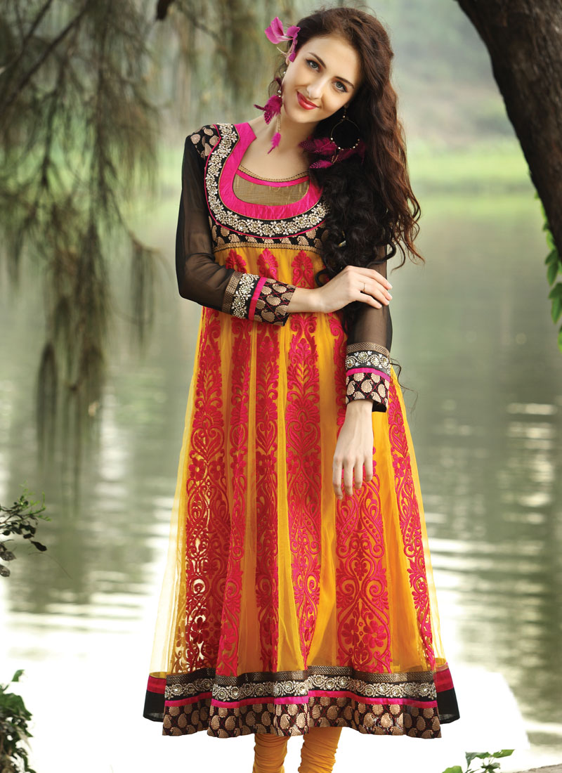 Long anarkali suit with yellow net fabric indian women dresses 2012