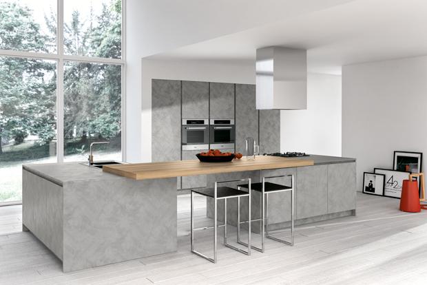 Cuisine design grise sans poign es for Cuisine grise design