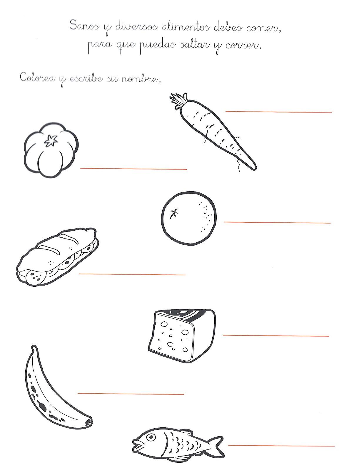 Dibujo para colorear alimentos nutritivos y chatarra - Imagui