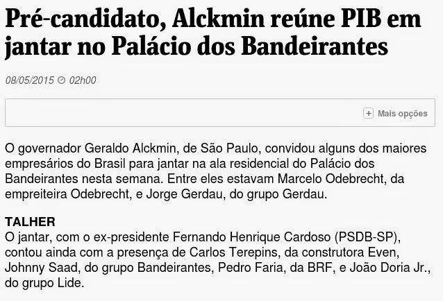 Governador Geraldo Alckmin convida investigado na Operação Lava Jato para jantar