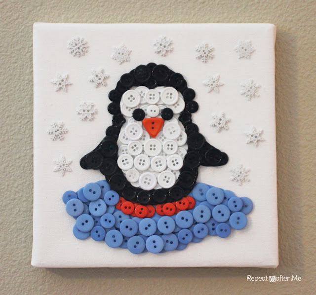 penguin button art on canvas
