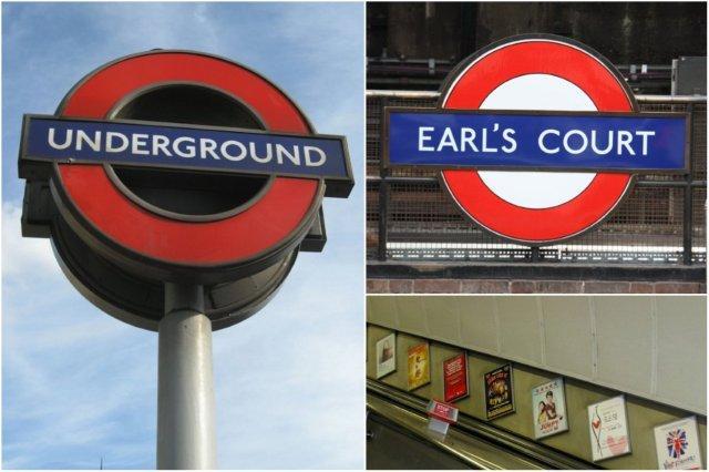 Entrada de metro en Londres, London Underground – Señal de la estación Earl's Court en Londres – Escaleras mecánicas en el metro de Londres