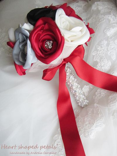bridal bouquet in red, pearl and silver with rhinestones and pearls