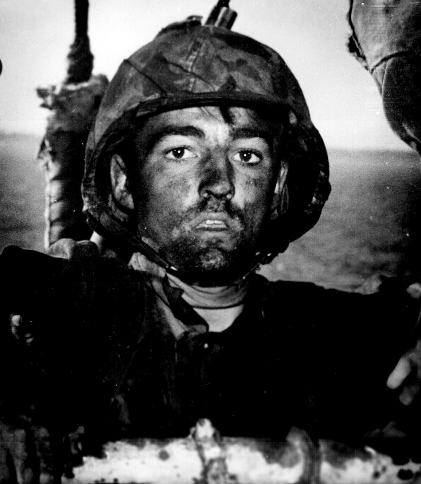 A U.S. Marine exhibits the thousand-yard stare after two days of constant fighting in the Battle of Eniwetok, 1944
