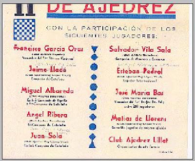 Primer cartel del II Torneo Nacional de Ajedrez de La Pobla de Lillet 1956