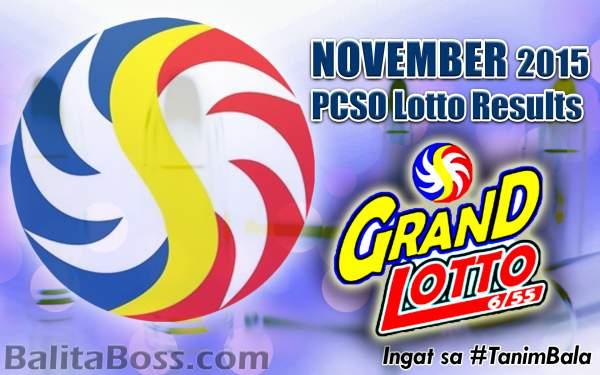 Image: November 2015 GrandLotto 6/55 PCSO Lotto Results