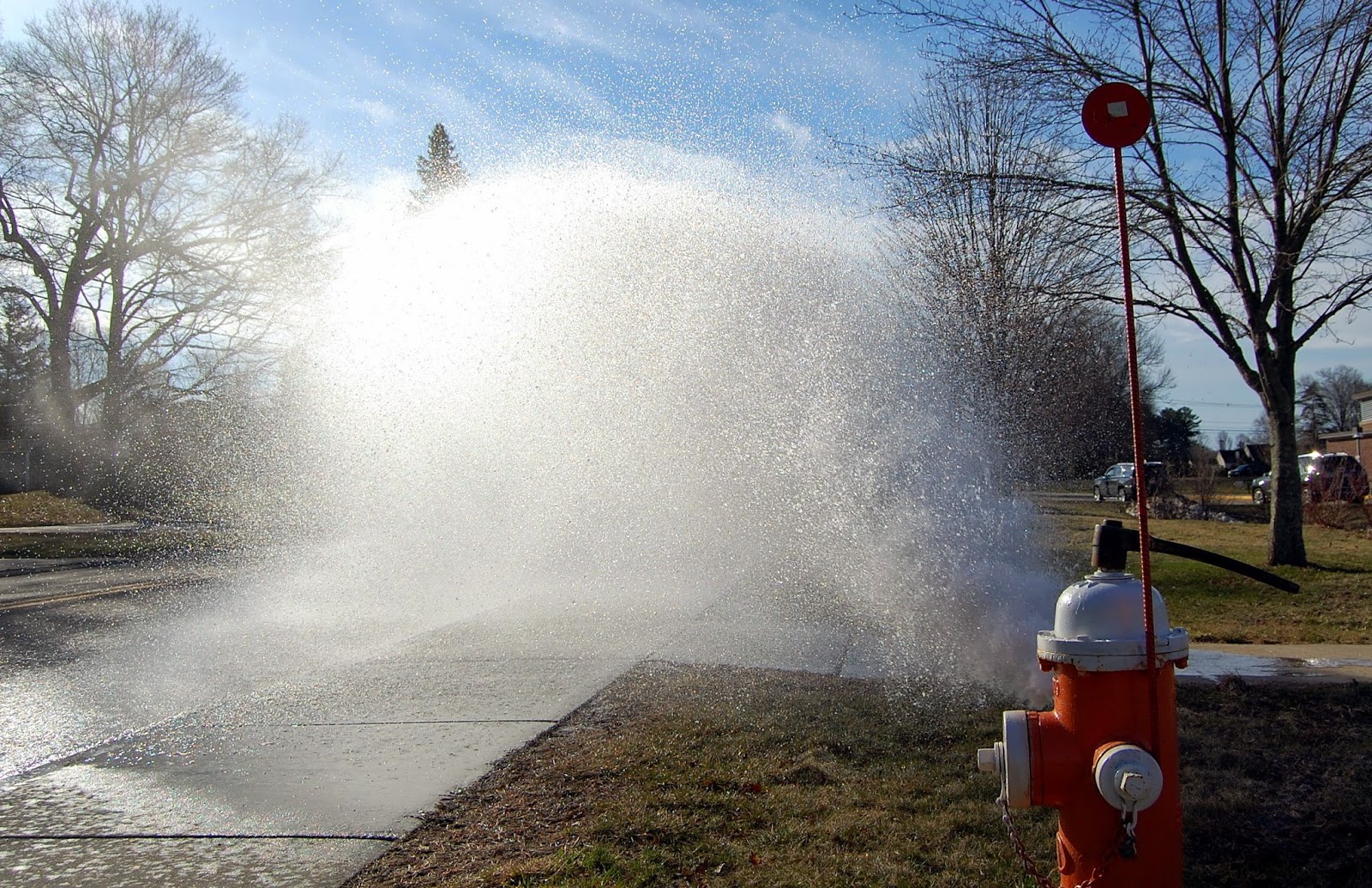 hydrant flushing at Parmenter School
