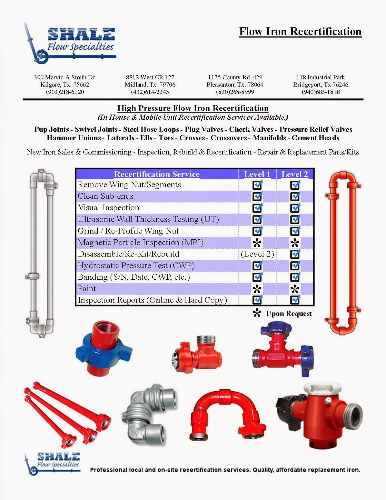 High Pressure Flow Iron : High pressure iron flow line inspection recertification