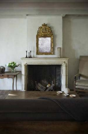 Fireplace surround, of an 18th Century Dutch Farmhouse,  interior elements by Antiek Amber, as seen on linenandlavender.net