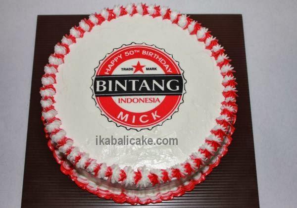 IKA Bali Cake Round cake with Bintang Beer Logo