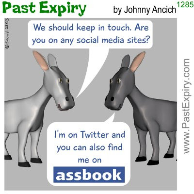 Cartoon about blog, Facebook, social networking, Twitter, 