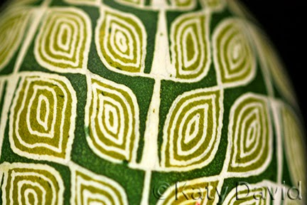 Friday Egg: Green Leaf Goose Egg Pysanky ©Katy David