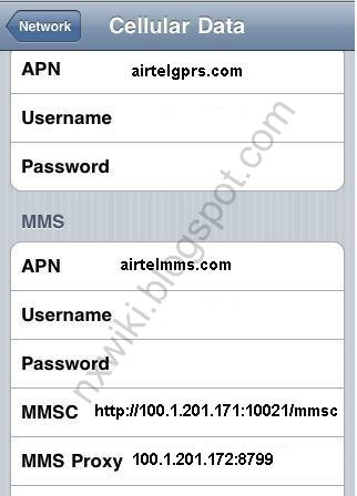 Airtel APN Settings for iPhone iPad