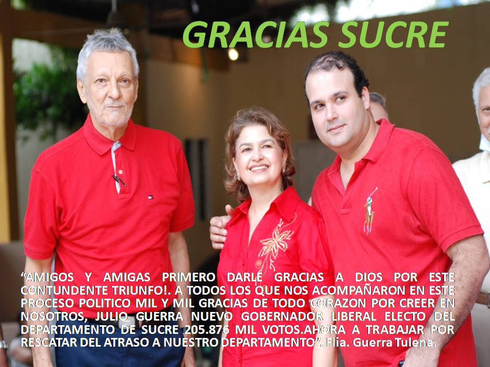 JULIO GUERRA GOBERNADOR DE SUCRE 2012 - 2015