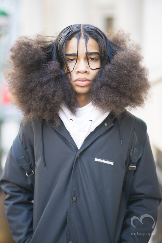 Danny Phannthom from the band BOYSONQ leaves Hood By Air 2015-2016 Fall Winter show during New York Fashion Week NYFW