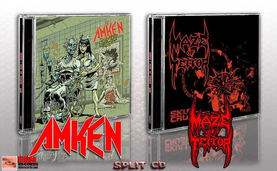 AMKEN / MAZE OF TERROR Split CD OUT NOW via EBM Records!