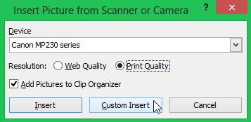 Aktifkan Sisip Gambar Lewat Scanner
