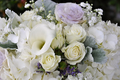 Callas, lavender Lisianthus, Spray Roses, Dusty Miller, Misty Blue and White Hydrangea get accented by Baby's Breath.