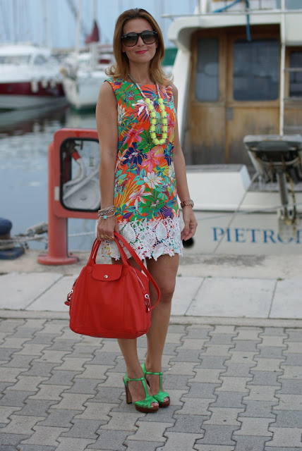 Mini dress for summer, tropical print dress, Longchamp le cuir bag, Fashion and Cookies