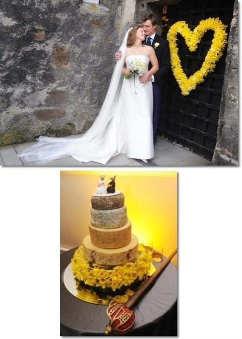 gult bröllop, annorlunda bröllopstårta, bröllop påskliljor