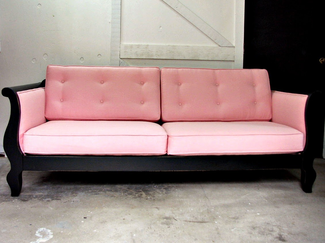blue roof cabin custom upholstered pink and black sofa. Black Bedroom Furniture Sets. Home Design Ideas
