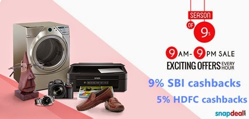 "Snapdeal ""Season of 9"" Mega Shopping Event - Offers, Discounts, Cashbacks SBI, HDFC"
