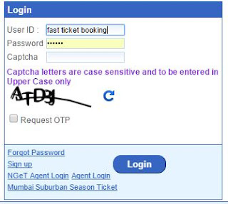 IRCTC login with captcha for booking train tickets online
