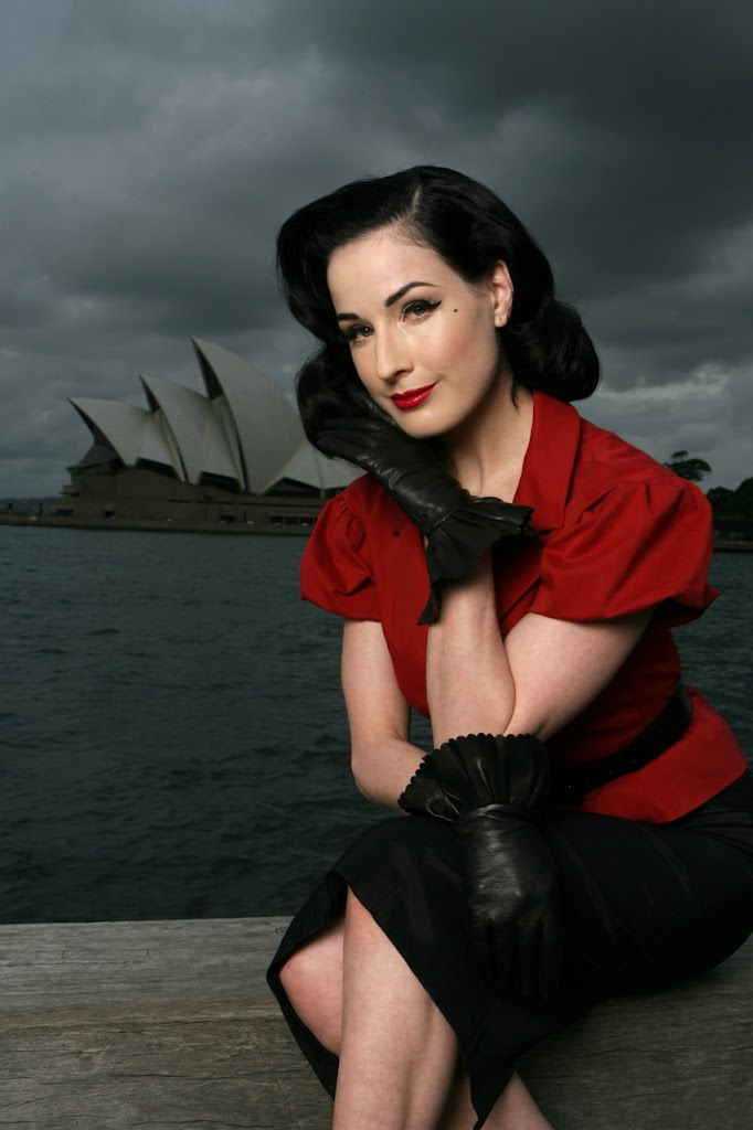 Dita Von Teese Short Leather Gloves Sydney Opera House
