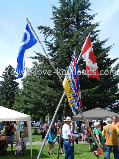 The flags for the Aboriginal, British Columbia and Canada all fly