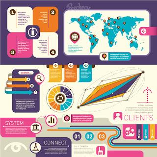 レトロなインフォグラフィックス テンプレート infographics elements retro style イラスト素材