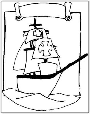 Dibujos para colorear Cristbal Coln descubrimiento Amrica
