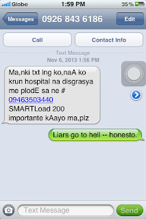 SMS from a fraud texter