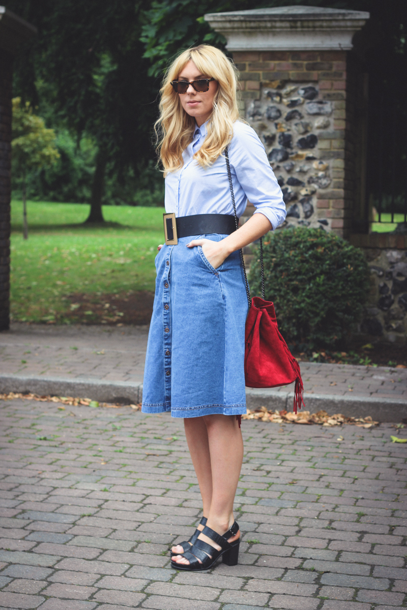 New Look A Line Button Down Skirt - The Goodowl