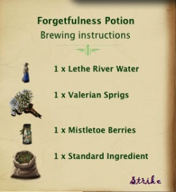 Beautiful image of forgetfulness potion recipe