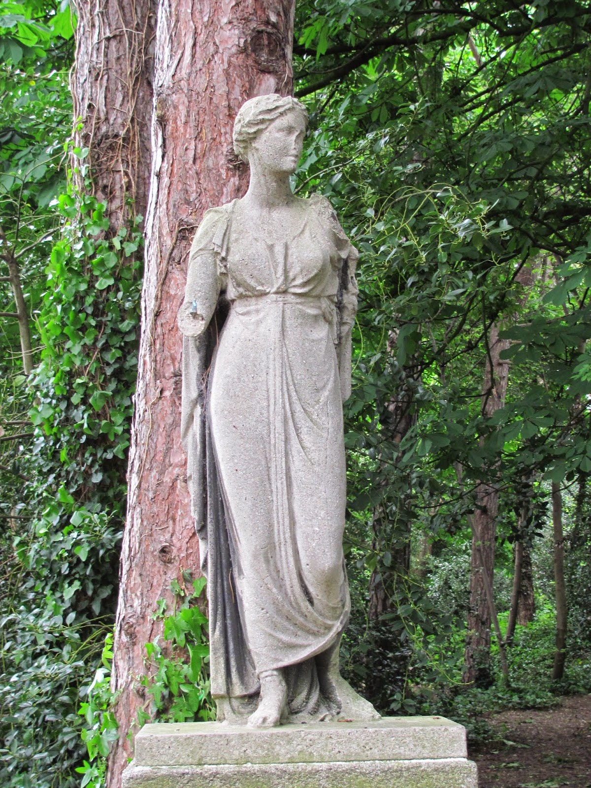 Broken statue of a Greek goddess at Iveagh Gardens, Dublin