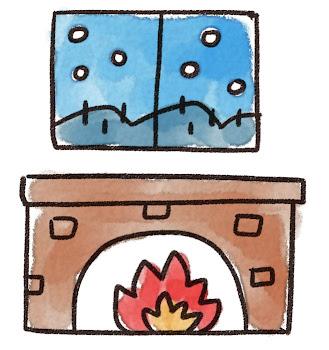 暖炉と雪景色のイラスト