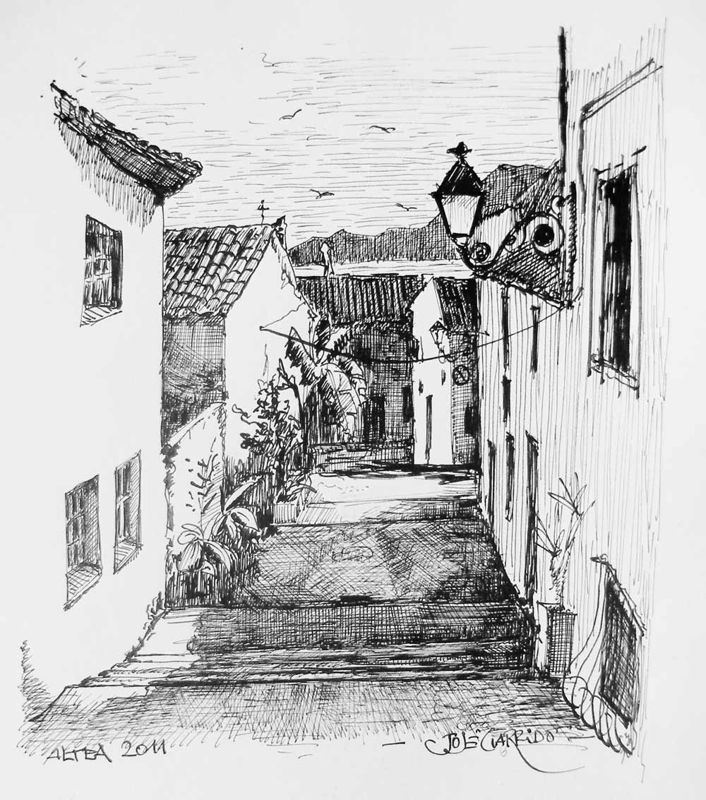 Artima as plumillas l piz y acuarelas pueblos de alicante - Casas dibujadas a lapiz ...
