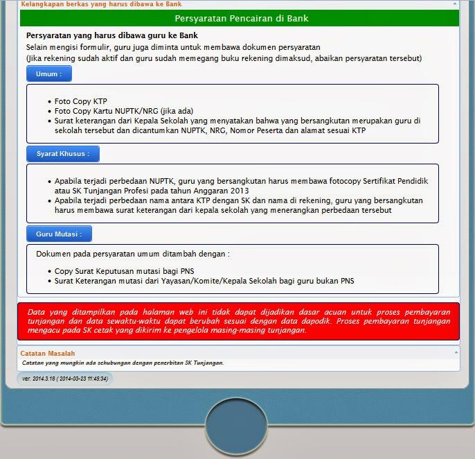Petunjuk Teknis Penyaluran Tunjangan Profesi Guru 2014. Tunjangan
