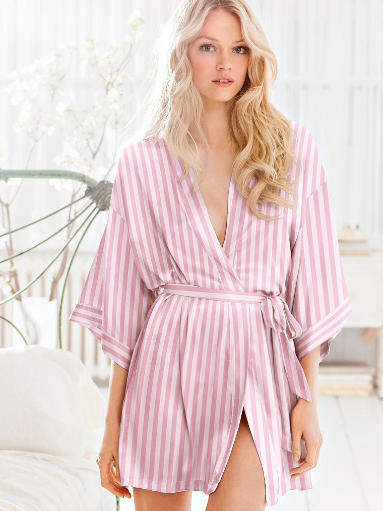 Beautytiptoday.com: Buy Pink Striped VS Satin Kimono Like Gigi And ...