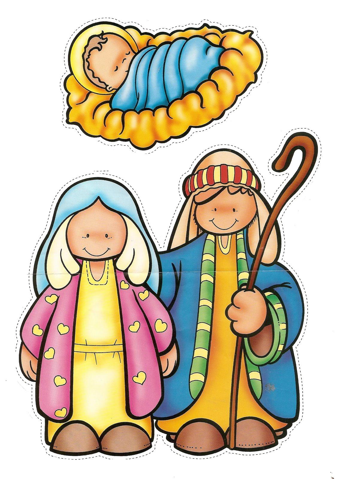 Jesus y maria para colorear