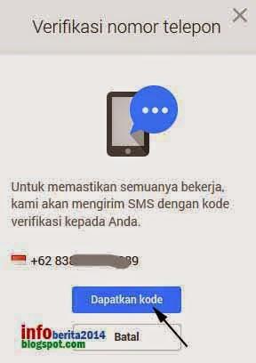 tahap permintaan kode verifikasi nomor hp di akun google