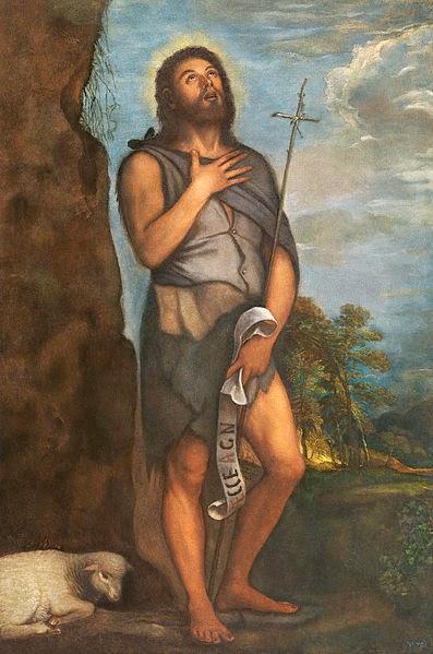 San Juan el Bautista pintura del genial Tiziano de Italia