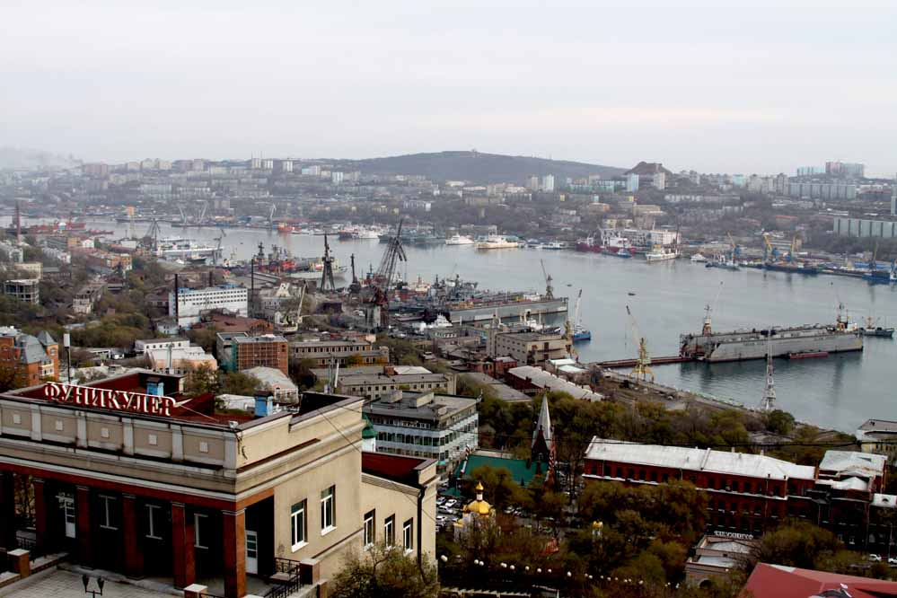 Vladivostok Russia - port view with funicular railway